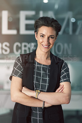 Buy stock photo Portrait of a creative businesswoman in her office