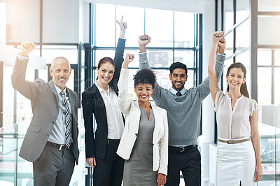 Buy stock photo Portrait of a diverse team of colleagues cheering you on at work
