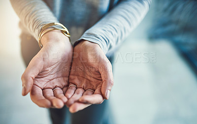 Buy stock photo Closeup shot of hands cupped together