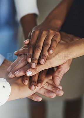 Buy stock photo High angle shot of a group of unrecognizable coworkers' hands in a huddle