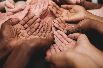 Buy stock photo Cropped shot of a group of hands held cupped out together