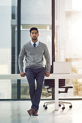 Buy stock photo Full length portrait of a young businessman standing in his office