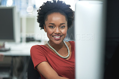 Buy stock photo Cropped shot of creative businesswoman sitting behind her computer