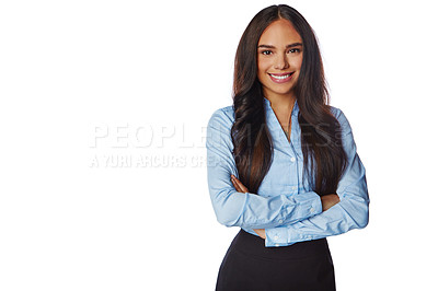 Buy stock photo Studio portrait of a confident young businesswoman crossing her arms against a white background