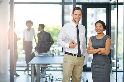 Buy stock photo Cropped portrait of two colleagues standing outside the boardroom before their presentation