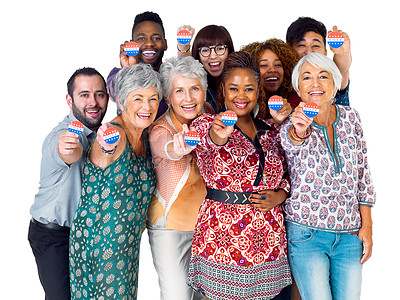 Buy stock photo Studio shot of diverse group of voters holding up voting buttons against a white background