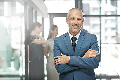 Buy stock photo Portrait of a confident mature businessman standing in a modern office with colleagues in the background