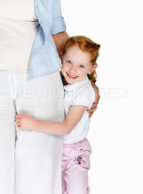 Buy stock photo Portrait of a happy little girl embracing her grandmother isolated against white