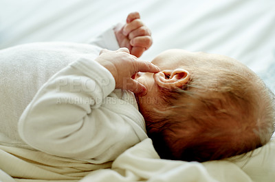 Buy stock photo Cropped shot of an adorable new born baby boy