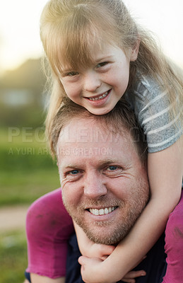 Buy stock photo Cropped portrait of a little girl and her father standing outside