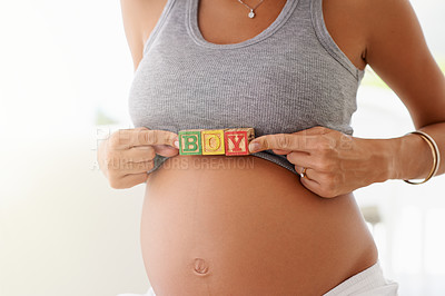 Buy stock photo Cropped shot of a woman holding building blocks against her pregnant belly