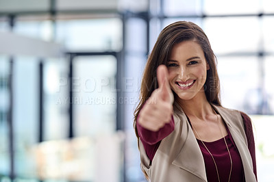 Buy stock photo Cropped shot of an attractive young businesswoman in the office