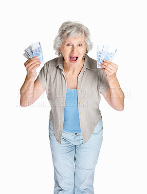 Buy stock photo Portrait of a surprised mature woman holding cash in hands on white background
