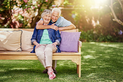 Buy stock photo Full length portrait of an affectionate senior couple in their backyard