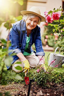 Buy stock photo Portrait of a senior woman gardening at home