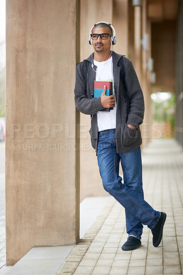 Buy stock photo Shot of a college student at campus