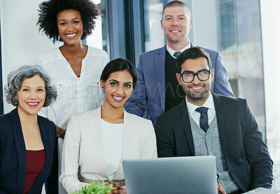 Buy stock photo Portrait of a group of businesspeople sitting together