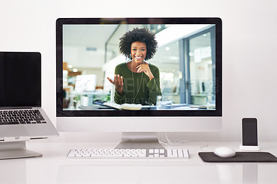 Buy stock photo Shot of a businesswoman having a video call on a computer