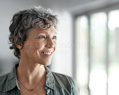 Buy stock photo Shot of a mature woman smiling while standing in her home