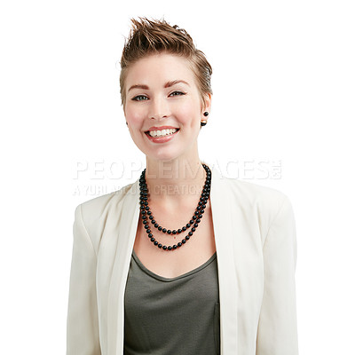 Buy stock photo Studio portrait of a young businesswoman isolated on white