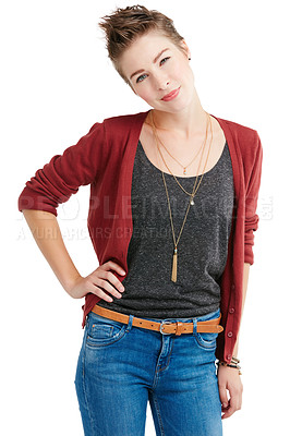 Buy stock photo Studio portrait of a young woman posing with attitude against a white background