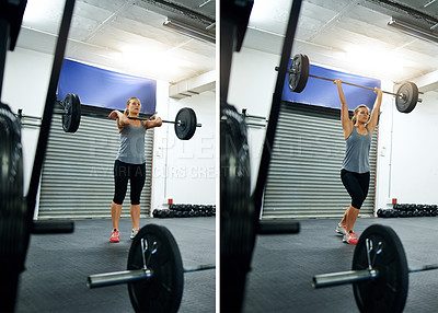 Buy stock photo Composite image of a young woman working out with a barbell at a gym
