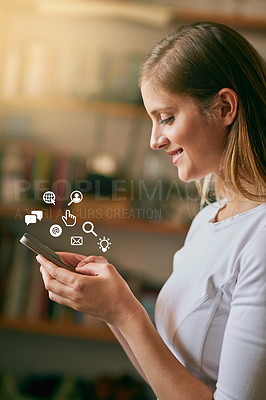 Buy stock photo Enhanced shot of a young woman using her smartphone at home