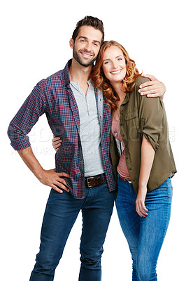 Buy stock photo Shot of a couple posing against a white background