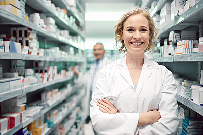 Buy stock photo Portrait of a female chemist at work in a pharmacy