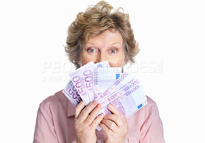 Buy stock photo Portrait of a senior female holding cash of five hundred on white background
