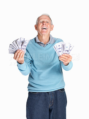 Buy stock photo Portrait of a laughing senior man holding dollars isolated against white