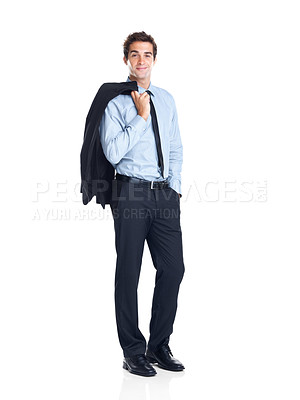 Buy stock photo Full length of a relaxed young businessman holding coat over shoulders isolated on white background