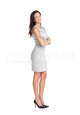 Buy stock photo Full length portrait of an attractive young female standing with hands folded on white background