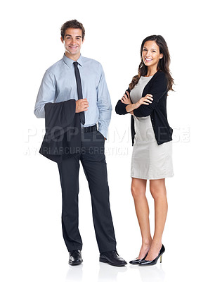 Buy stock photo Full length portrait of young smiling business colleagues standing on white background