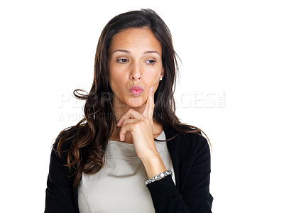 Buy stock photo Portrait of a beautiful young thoughtful woman isolated against white background