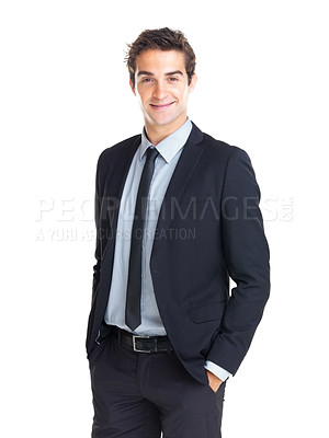Buy stock photo Happy young businessman standing with hands in pockets isolated over white background