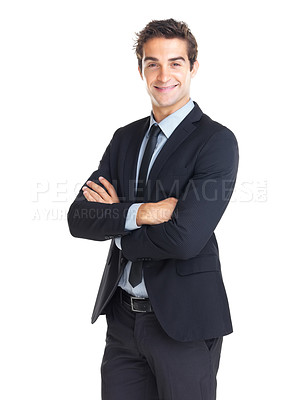 Buy stock photo Happy young businessman with hands folded isolated against white background