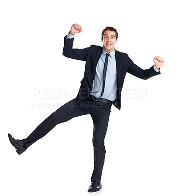 Buy stock photo Portrait of crazy young businessman jumping with joy after his success isolated on white background