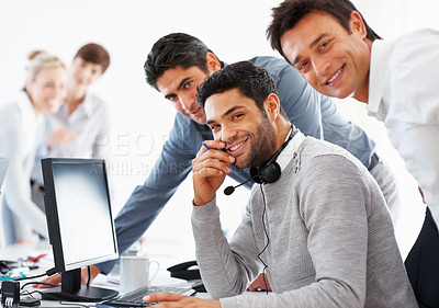 Buy stock photo Portrait of happy business men with computer on table at workplace