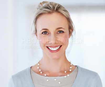 Buy stock photo Closeup of beautiful business woman giving you an attractive smile