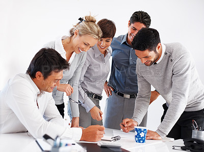 Buy stock photo Successful business team working on project during meeting