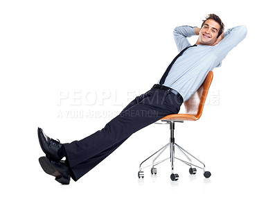 Buy stock photo Portrait of successful young businessman relaxing on chair against white background