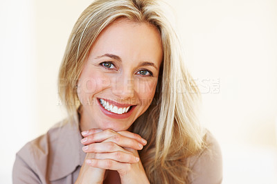 Buy stock photo Closeup of beautiful business woman smiling with hands on chin - copyspace