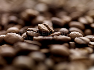 Buy stock photo Brown roasted coffee beans background