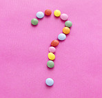 Diet concept - Question mark of multicolored candy sweets