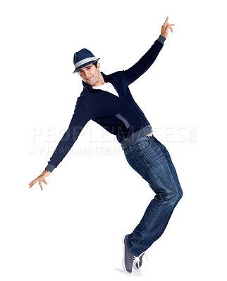 Buy stock photo Happy young stylish man is showing dance moves isolated on white background