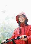 Woman not letting rain hold her back