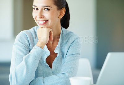 Buy stock photo Woman smiling while resting chin on hand