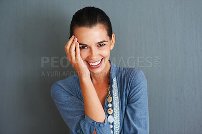 Buy stock photo Happy woman smiling with hand on face
