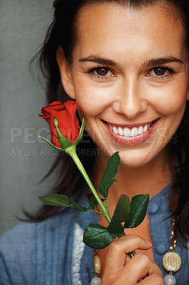 Buy stock photo Pretty woman holding red rose